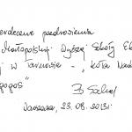 """Odręcznie napisane pozdrowienia od p. Barbary Sochal dla studentów z koła """"Paidagogos"""""""