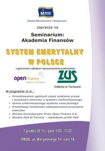 Plakat seminarium finansowe