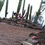 Czworo studentów pozuje na skałkach wśród ogromnych kaktusów