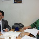 Dwóch studentów z Turcji podczas zajęć w Katedrze Zarządzania