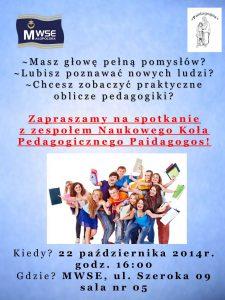 Plakat dotyczący spotkania koła Paidagogos