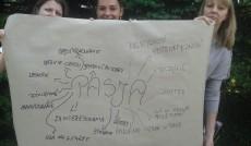 Plakat pokazujący czym są pasje - rozwinięty arkusz papieru formatu A1 trzymają trzy studentki