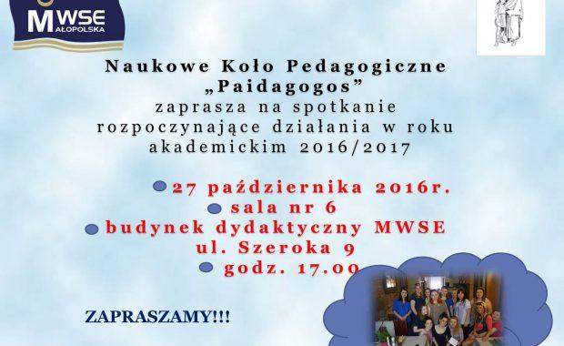 Plakat zebrania koła Paidagogos październik 2016