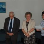 Ogłoszenie wyników - od lewej stoją prof. Michał Woźniak, dr Maria Dąbrowa, dr Sabina Kurzawa