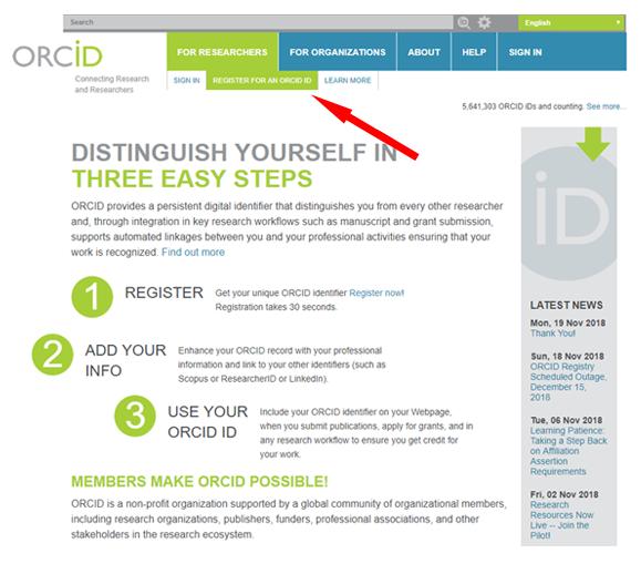 Instrukcja ORCID - zrzut ekranu 1