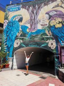 Studentka pozuje na tle przejścia z muralem przedstawiającym papugi