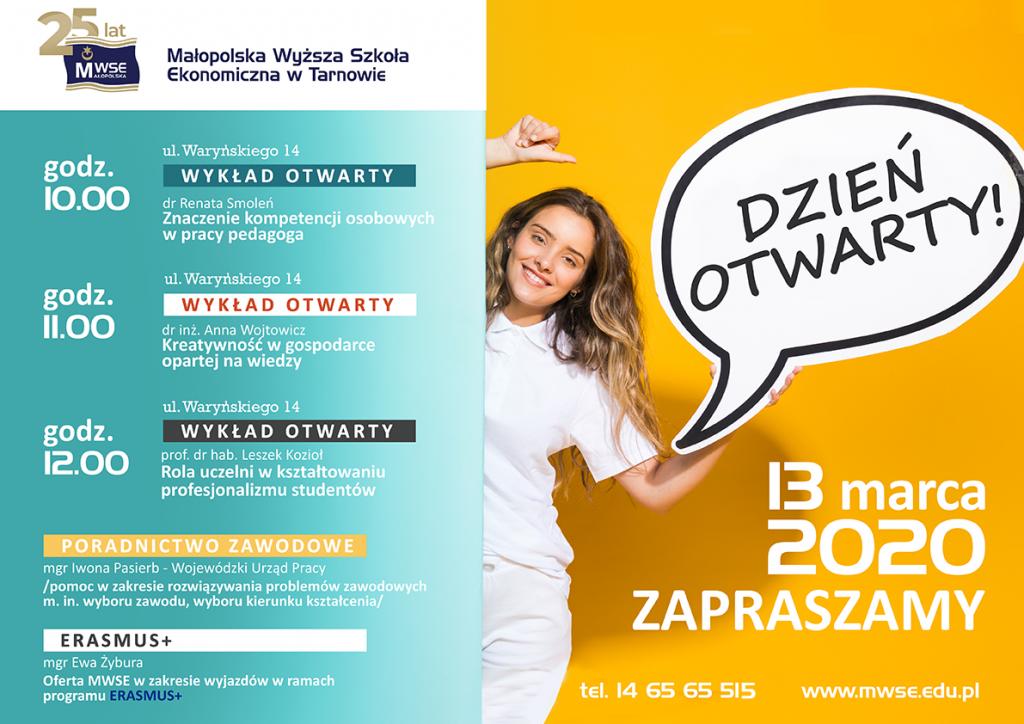 Plakat Dzień otwarty 2020
